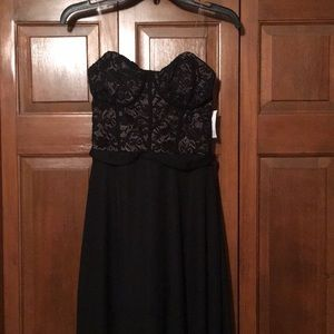 David's Bridal black sheer gown